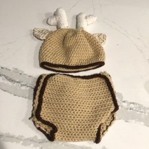 Handmade deer infant photo outfit